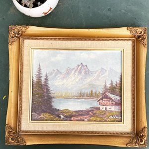 Vintage original mountain landscape painting